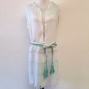 Letarte Belted Fringe Dress Sleeveless Size L Mint